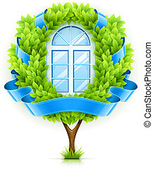 Ecological window concept with green tree