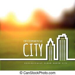 ecologically, city., zöld, kitakarít