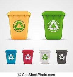 ecologico, rifiuti, set