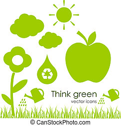 ecologico, vettore, icone