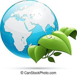 ecologie, bladeren, planeet, groene aarde, symbool