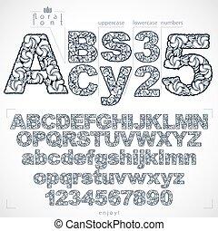 ecologie, brieven, lente, getallen, monochroom, lettertype, ...