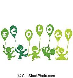 ecologie, concept, ballons, geitjes
