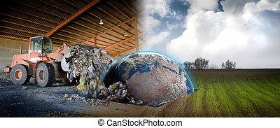 ecologie, concept, planeet land, in, een, afvalmateriaal,...
