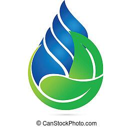 ecologie, druppel, water, groene, vellen, logo