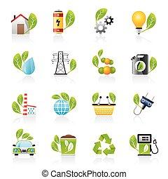 ecologie, en, milieu, iconen