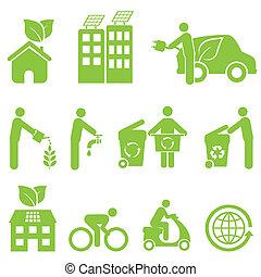 ecologie, en, milieu, pictogram, set