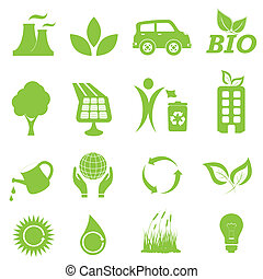 ecologie, en, milieu, pictogram, set
