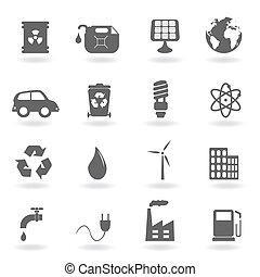 ecologie, en, milieu, symbolen