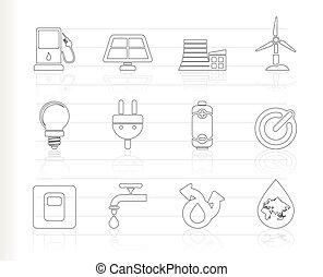ecologie, energie, macht, iconen