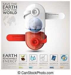 ecologie, energie, milieu, capsule, infographic, aarde, pil, vernieuwbaar