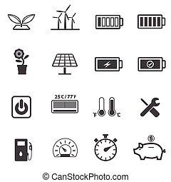 ecologie, energie, set, macht, iconen