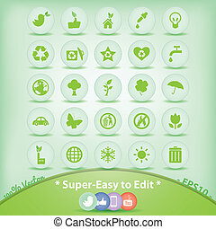 ecologie, iconen, set., groene, milieu, symbols.