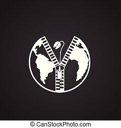 ecologie, macht, globaal, problemen, zwarte achtergrond