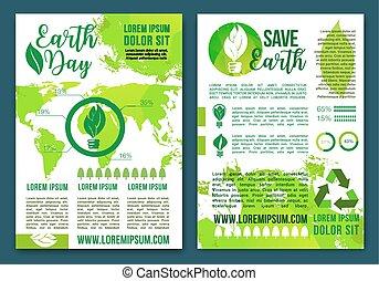 ecologie, natuur, vector, infographics, informatieboekje , aarde