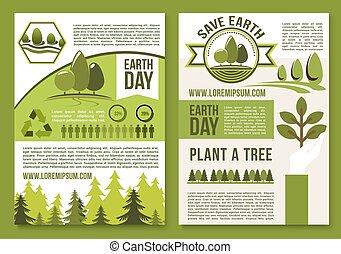 ecologie, of, vector, affiches, informatieboekje , aarden dag aan