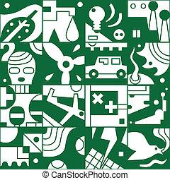 ecologie, -, seamless, achtergrond