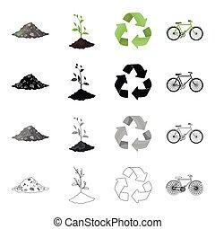 ecologie, set, monochroom, milieu, stijl, iconen, richtingwijzer, stapel, black , vriendelijk, plant, bio, meldingsbord, symbool, web., verzameling, illustratie, spotprent, schets, restafval, bicycle., vector, groene, liggen