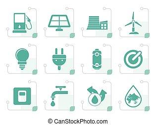 ecologie, stylized, energie, macht, iconen