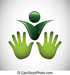 ecologie symbool, vrijstaand, pictogram
