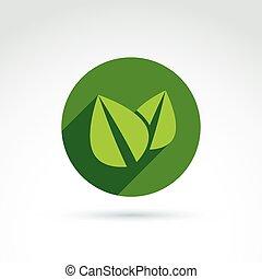 ecologie, vector, pictogram, voor, natuur, en, milieu,...
