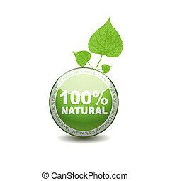 ecologie, web, drukknop, icon., 100 procenten