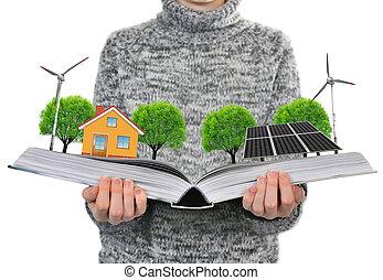 ecologisch, boek, in, hand.