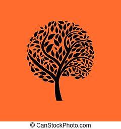 ecologisch, boompje, bladeren, pictogram