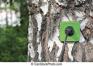 ecologisch, concept, symbolizing, vernieuwbare energie, bio,...