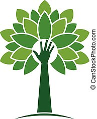 ecologisch, hand, boompje, met, bladeren, logo., vector,...