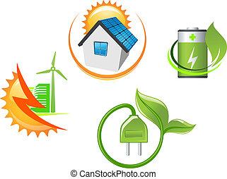 ecologisch, set, iconen