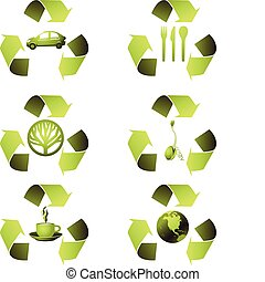 ecologisch, set, pictogram