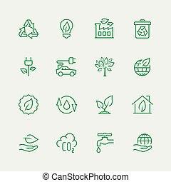 ecologisch, vector, set, pictogram