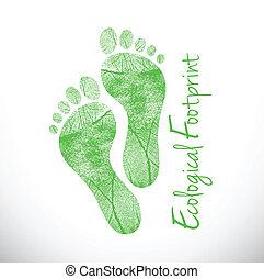 ecologisch, voetafdruk, illustratie, ontwerp