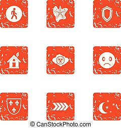 Ecologist icons set, grunge style - Ecologist icons set....