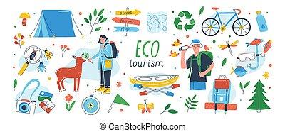 ecologists, 要素, デザイン, 女性, ecotourism, set., -, 隔離された, 白, 味方, 平ら, バックパック, eco, コレクション, 背景, kayak., テント, 観光事業, 漫画, illustration., 観光客, ベクトル, マレ, ∥あるいは∥
