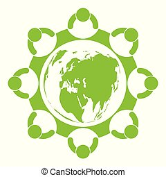 ecology., 人々, イラスト, eco 友好的, 都市, ベクトル, のまわり, 緑, 世界, 概念, ideas., 助け
