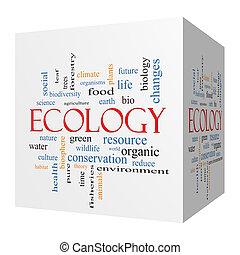 Ecology 3D cube Word Cloud Concept