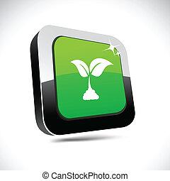Ecology 3d square button.