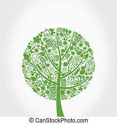Tree from ecology symbols. A vector illustration