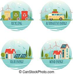 Ecology, alternative energy, green technology, organic, bio design concept. Vector cartoon banners