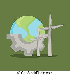 Ecology and earth planet - earth planet and eolic turbines...