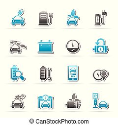 Ecology and Electric Car icons - vector icon set
