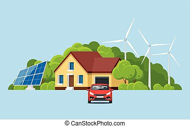 Ecology and environment conservation with nature concept. Green energy and eco friendly modern house on mountain landscape. Vector illustration.