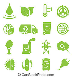 Ecology and environment icons - Ecology and environment icon...