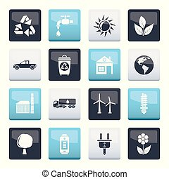 ecology and environment icons  over color background