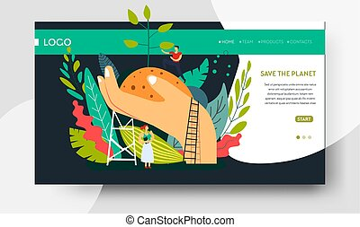Ecology and environment planting tree web page template -...