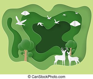 Ecology and environmental background concept. Love couple deer in forest in paper cut style. Vector illustration. Wallpaper, backdrop, poster, banner, cover, template.
