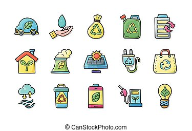 Ecology and recycle icons set, eps10