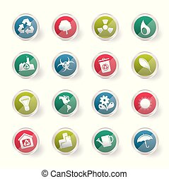 Ecology and Recycling icons over colored background